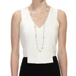 Tory Burch Pearly Logo Rosary Necklace